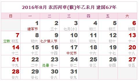 2016年8月 农历丙申(猴)年乙未月图片