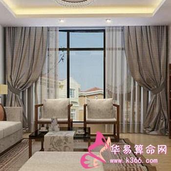 楼房黄壁纸欧式客厅窗帘平漫天效果图